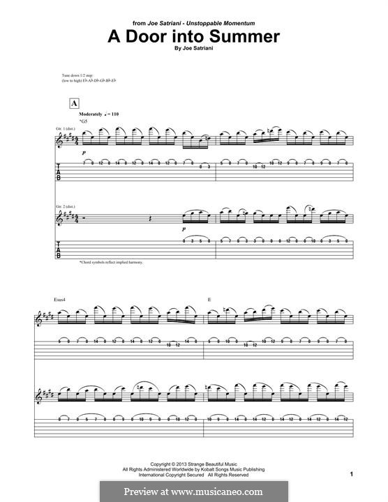 A Door Into Summer: For guitar with tab by Joe Satriani