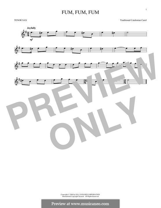 Fum, Fum, Fum: For tenor saxophone by folklore