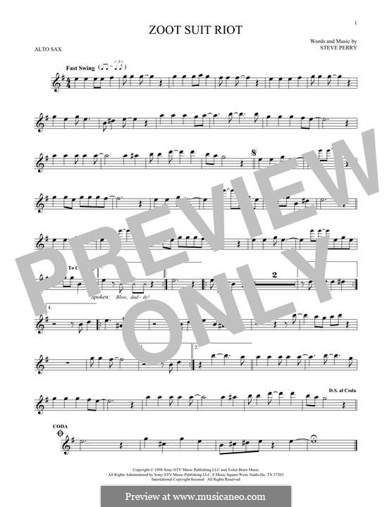 Zoot Suit Riot (The Cherry Poppin' Daddies): For alto saxophone by Steve Perry