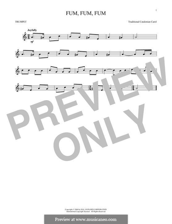 Fum, Fum, Fum: For trumpet by folklore