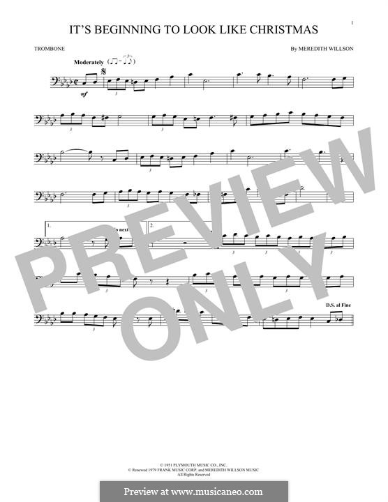 It's Beginning to Look a Lot Like Christmas (Perry Como): For trombone by Meredith Willson