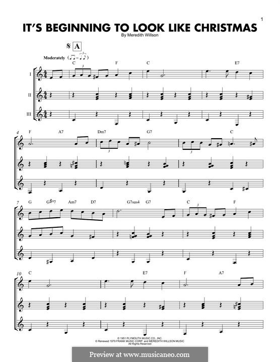 It's Beginning to Look a Lot Like Christmas (Perry Como): For any instrument by Meredith Willson