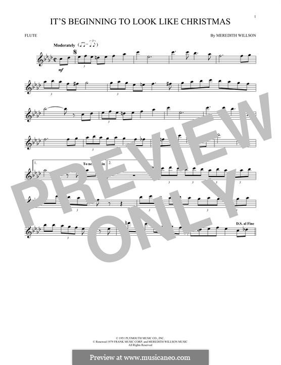 It's Beginning to Look a Lot Like Christmas (Perry Como): For flute by Meredith Willson