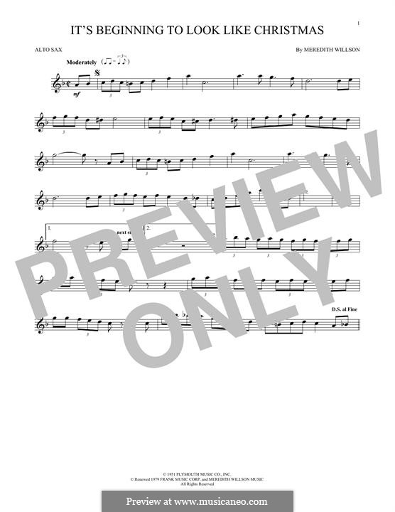 It's Beginning to Look a Lot Like Christmas (Perry Como): For alto saxophone by Meredith Willson
