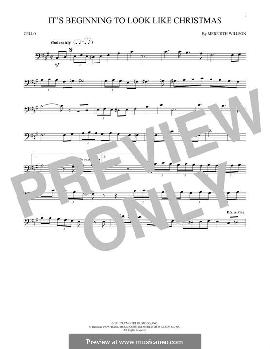 It's Beginning to Look a Lot Like Christmas (Perry Como): For cello by Meredith Willson