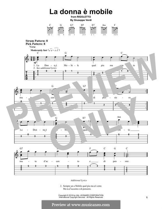 La donna è mobile (Over the Summer Sea): For guitar by Giuseppe Verdi