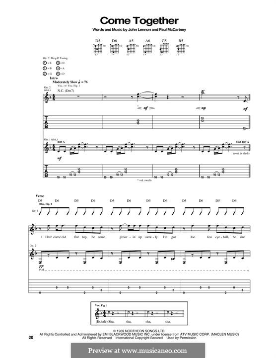 Come Together (The Beatles): For guitar with tab by John Lennon, Paul McCartney