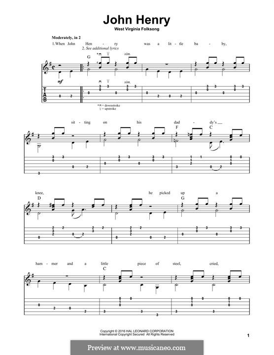 John Henry: For guitar by folklore