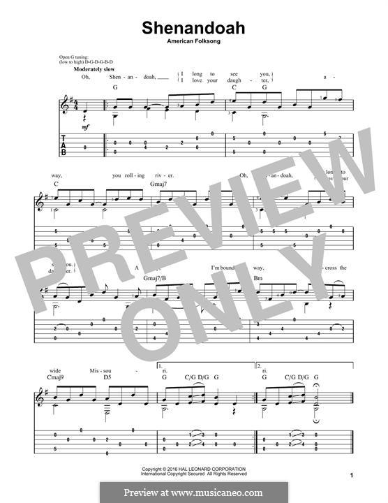 Shenandoah: For guitar by folklore