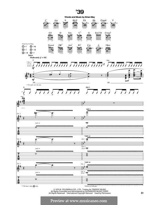 '39 (Queen): For guitar with tab by Brian May