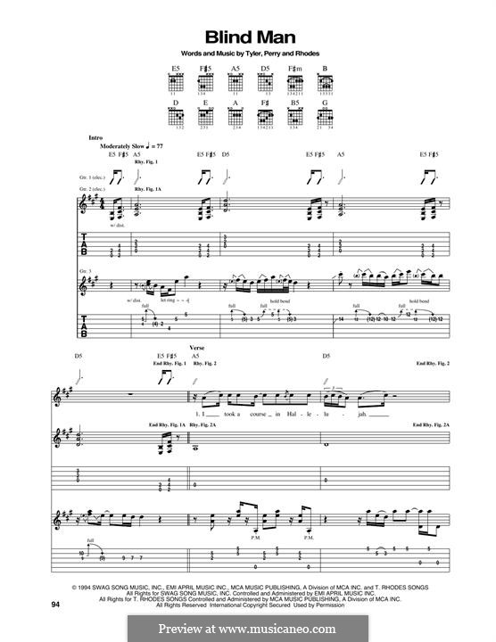 Blind Man (Aerosmith): For guitar with tab by Joe Perry, Steven Tyler, Taylor Rhodes