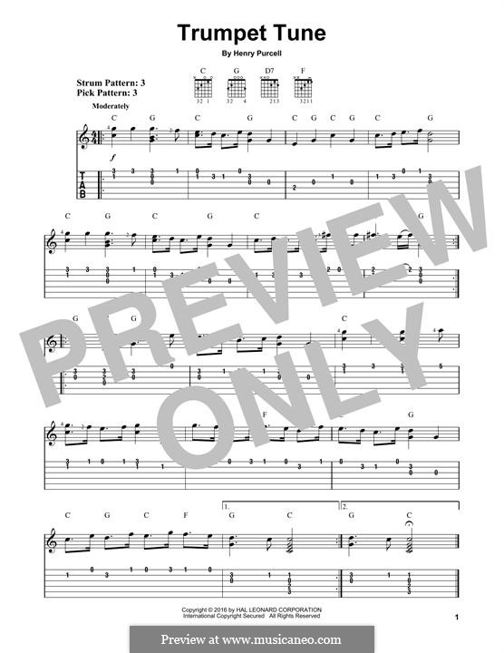 Trumpet tune and Air: For guitar with tab by Henry Purcell