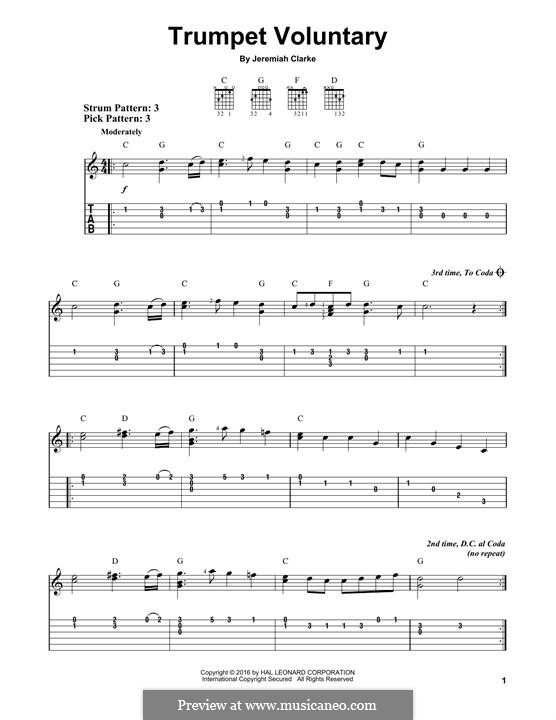 Prince of Denmark's March (Trumpet Voluntary), printable scores: For guitar by Jeremiah Clarke
