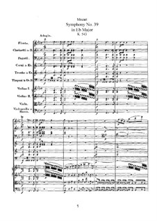 Symphony No.39 in E Flat Major, K.543: Full score by Wolfgang Amadeus Mozart