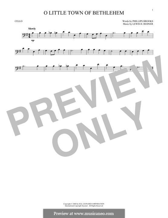 O Little Town of Bethlehem: For cello by Lewis Henry Redner