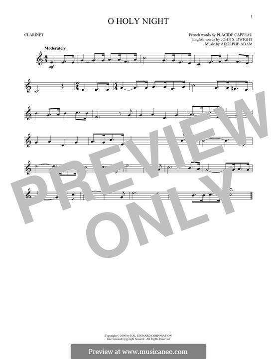 O Holy Night (Printable Scores): For clarinet by Adolphe Adam