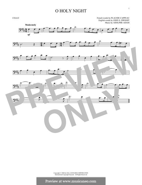 O Holy Night (Printable Scores): For cello by Adolphe Adam