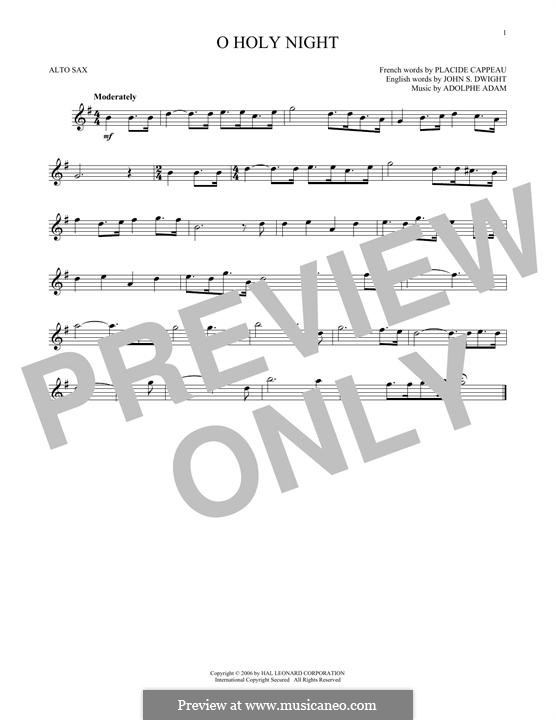 O Holy Night (Printable Scores): For alto saxophone by Adolphe Adam