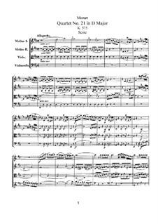 String Quartet No.21 in D Major, K.575: Full score by Wolfgang Amadeus Mozart