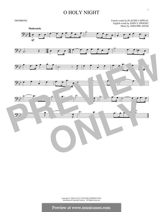 O Holy Night (Printable Scores): For trombone by Adolphe Adam