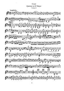 String Quintet No.5 in D Major, K.593: Violin II part by Wolfgang Amadeus Mozart