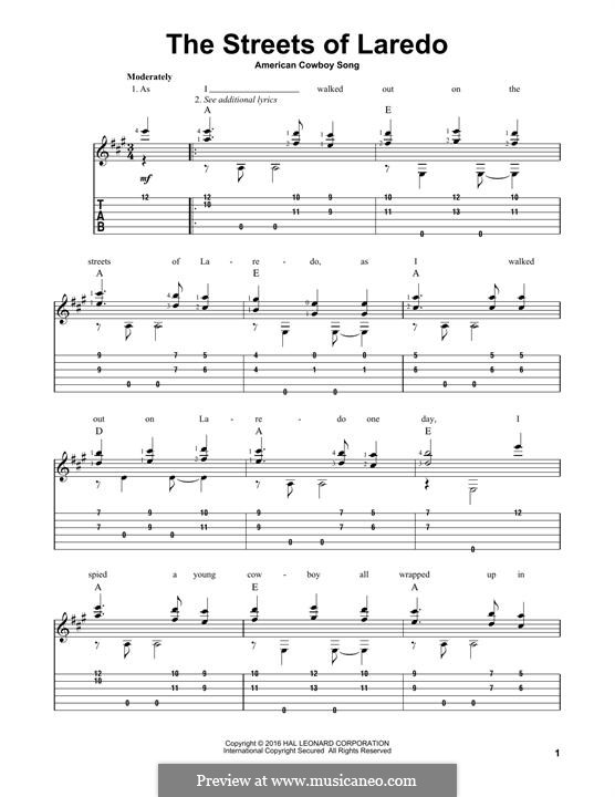 The Streets of Laredo: For guitar with tab by folklore