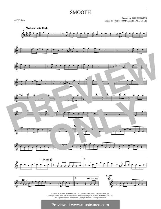 Smooth (Santana featuring Rob Thomas): For alto saxophone by Itaal Shur, Rob Thomas