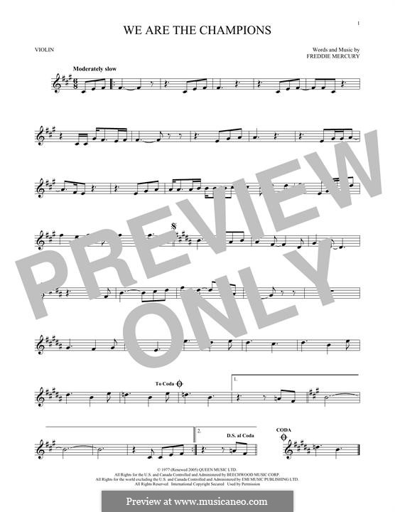 We are the Champions (Queen): For violin by Freddie Mercury