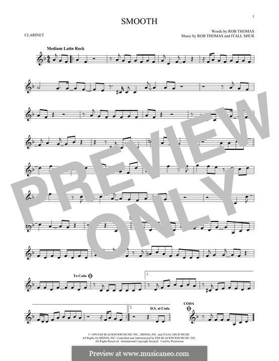 Smooth (Santana featuring Rob Thomas): For clarinet by Itaal Shur, Rob Thomas