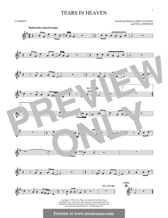 Tears in Heaven: For clarinet by Eric Clapton, Will Jennings
