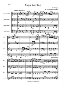 Maple Leaf Rag: For clarinet quartet (3 B flats and 1 bass) by Scott Joplin