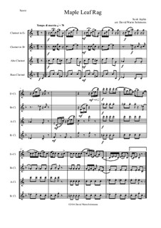 Maple Leaf Rag: For clarinet quartet (E flat, B flat, alto and bass) by Scott Joplin