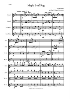 Maple Leaf Rag: For flute quartet (2 flutes, 1 alto and 1 bass) by Scott Joplin