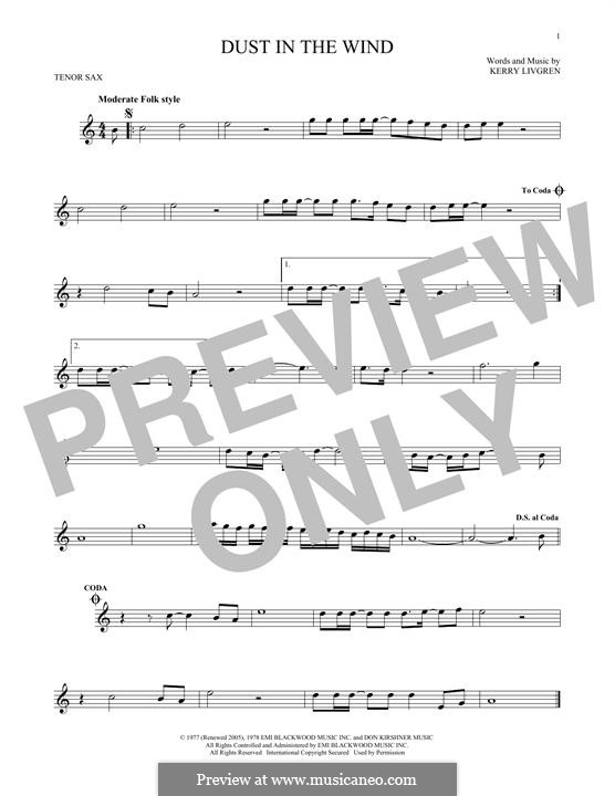 Dust in the Wind (Kansas): For tenor saxophone by Kerry Livgren