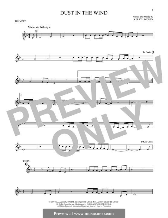 Dust in the Wind (Kansas): For trumpet by Kerry Livgren