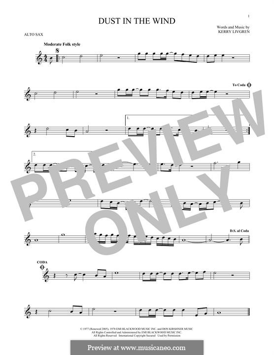 Dust in the Wind (Kansas): For alto saxophone by Kerry Livgren