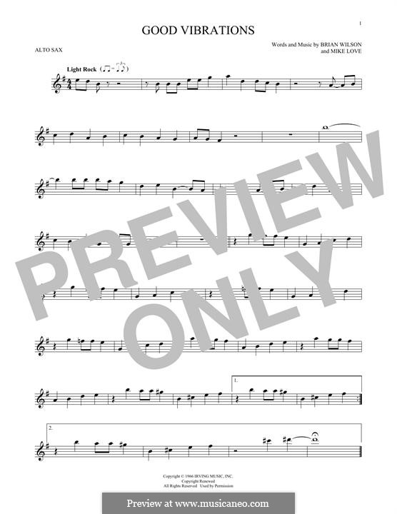 Good Vibrations (The Beach Boys): For alto saxophone by Brian Wilson, Mike Love