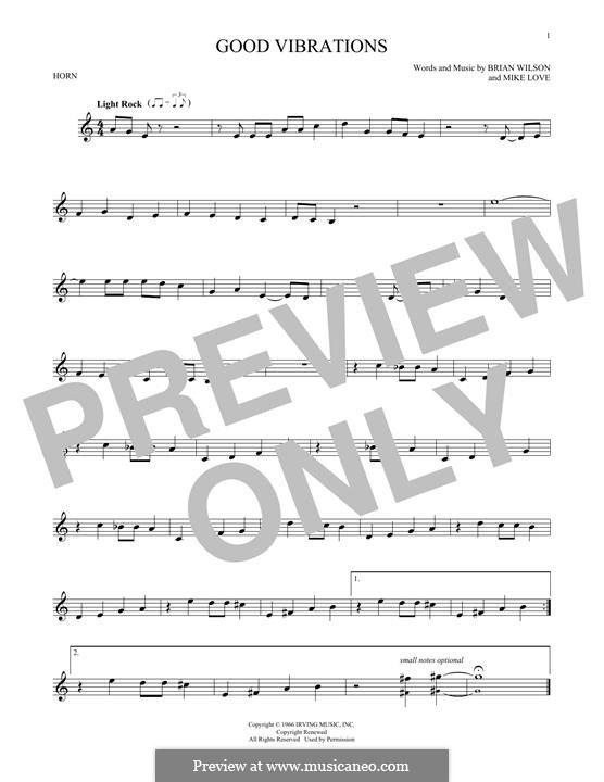 Good Vibrations (The Beach Boys): For horn by Brian Wilson, Mike Love