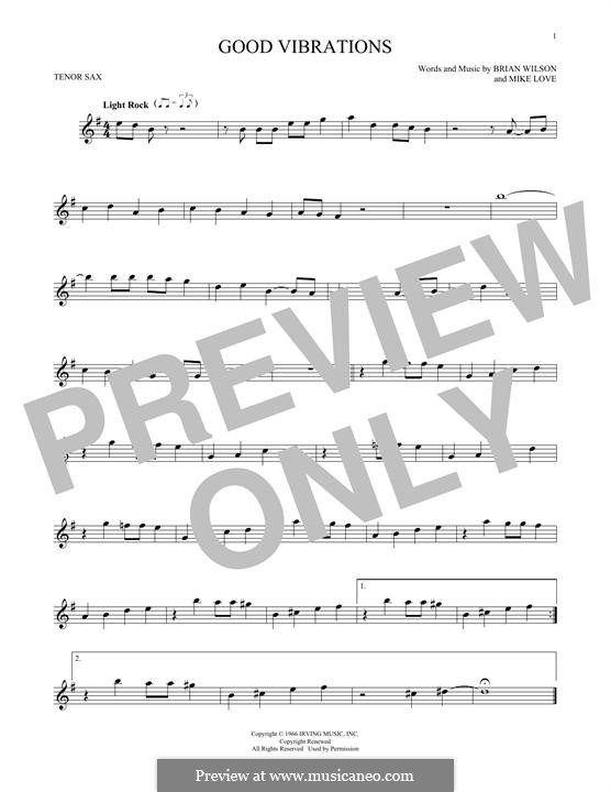 Good Vibrations (The Beach Boys): For tenor saxophone by Brian Wilson, Mike Love