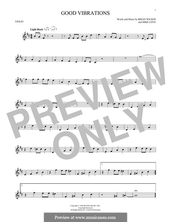 Good Vibrations (The Beach Boys): For violin by Brian Wilson, Mike Love