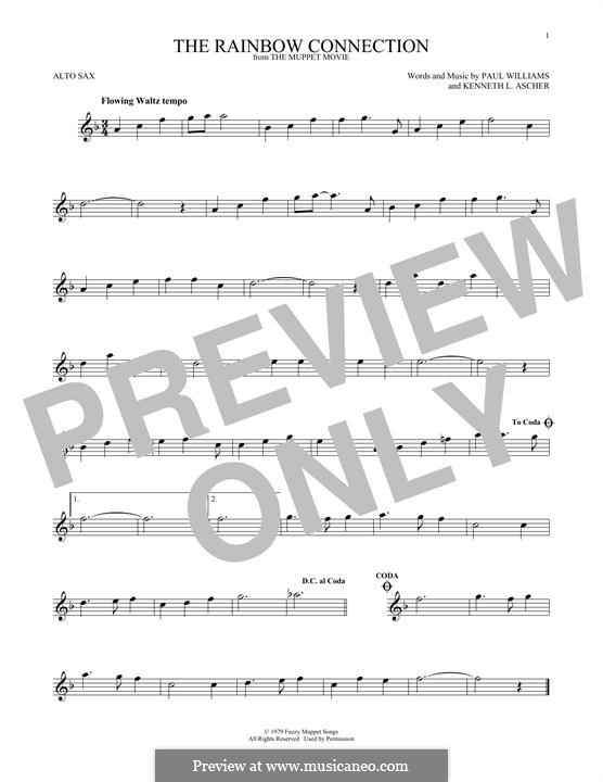 The Rainbow Connection (Kermit the Frog): For alto saxophone by Paul H. Williams, Kenneth L. Ascher
