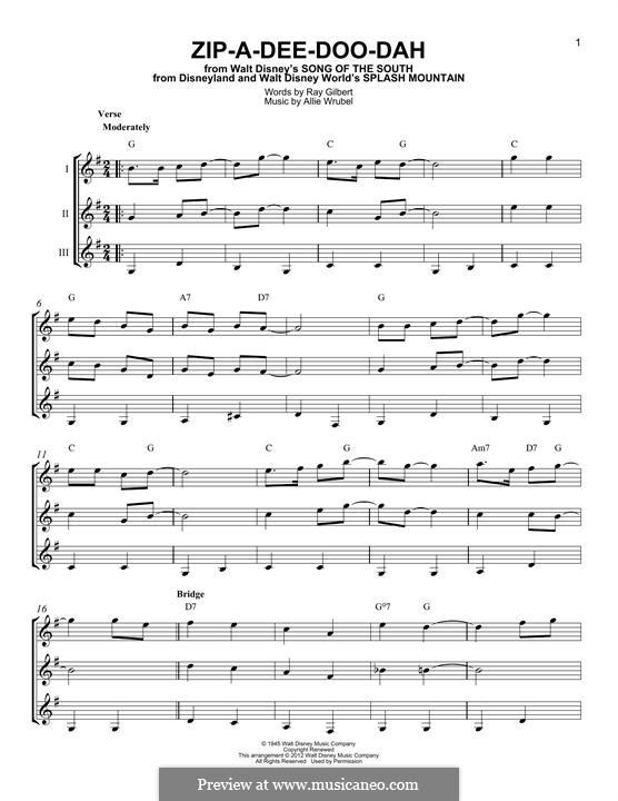 Zip-A-Dee-Doo-Dah: For any instrument by Allie Wrubel