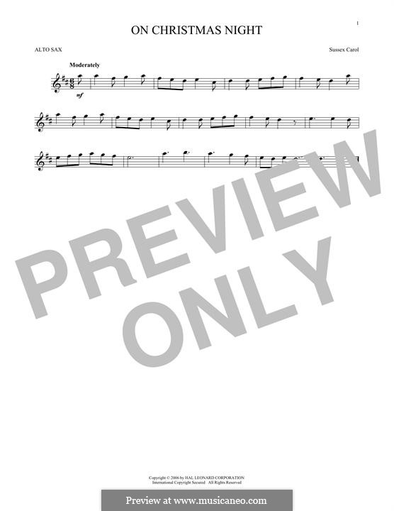 On Christmas Night (Traditional Carol): For alto saxophone by folklore