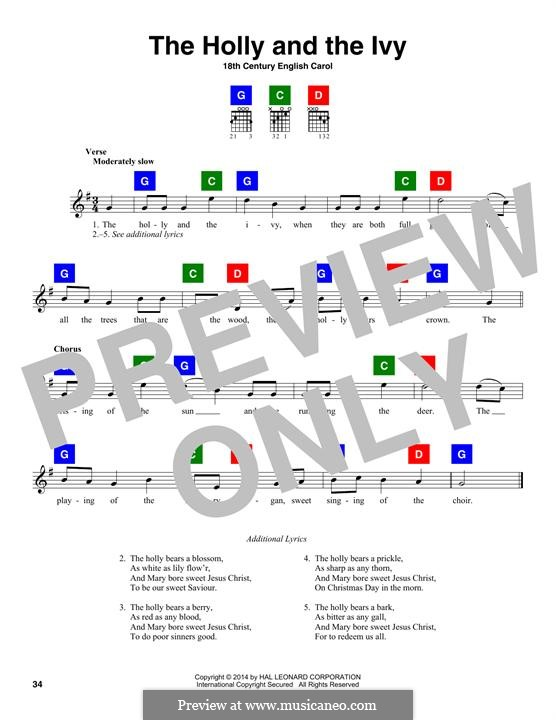 The Holly and the Ivy: Lyrics and chords by folklore