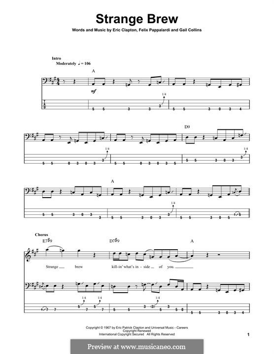Strange Brew (Cream): For bass guitar with tab by Eric Clapton, Felix Pappalardi, Gail Collins