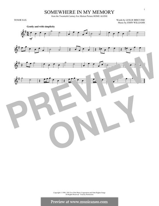 Somewhere in My Memory: For tenor saxophone by John Williams