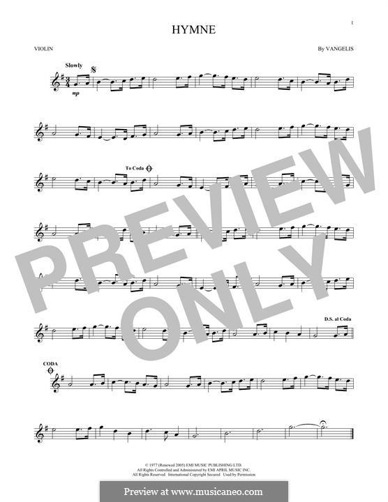 Hymne: For violin by Vangelis