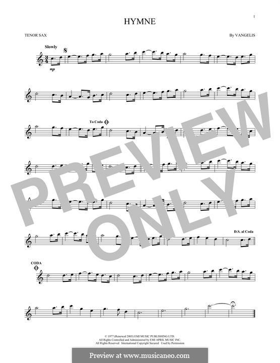Hymne: For tenor saxophone by Vangelis