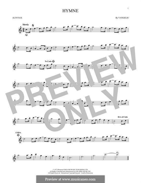 Hymne: For alto saxophone by Vangelis