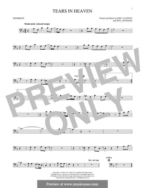 Tears in Heaven: For trombone by Eric Clapton, Will Jennings